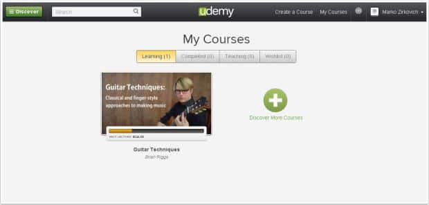 Udemy dashboard page