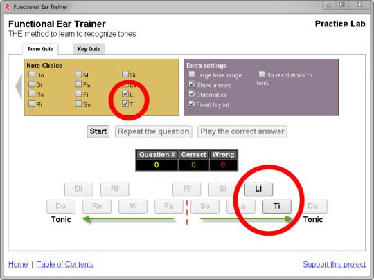 7th note pair setting for functional ear trainer