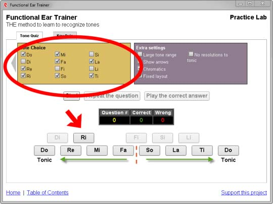single chromatic note added to functional ear trainer