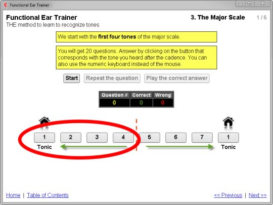 functional ear trainer - lower tetrachord settings