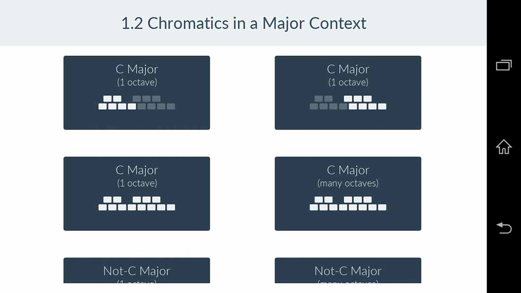Major scale with chromatics exercise choices in the Functional Ear Trainer app