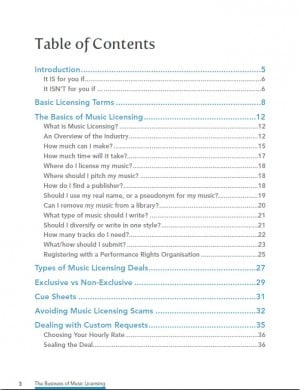 table of contents for Business of Music Licensing