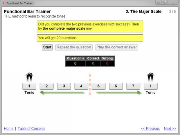 major scale settings for functional ear training